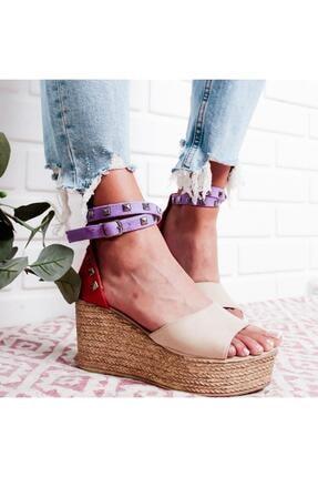 Limoya Kadın Ten Süet Zımba Detaylı Dolgu Topuklu Sandalet