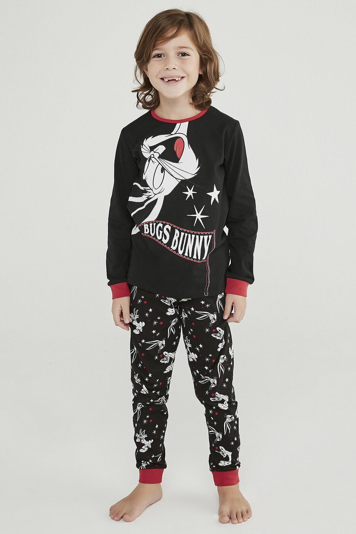 Penti Siyah Erkek Çocuk Bugs Bunny 2li Pijama Takımı 1