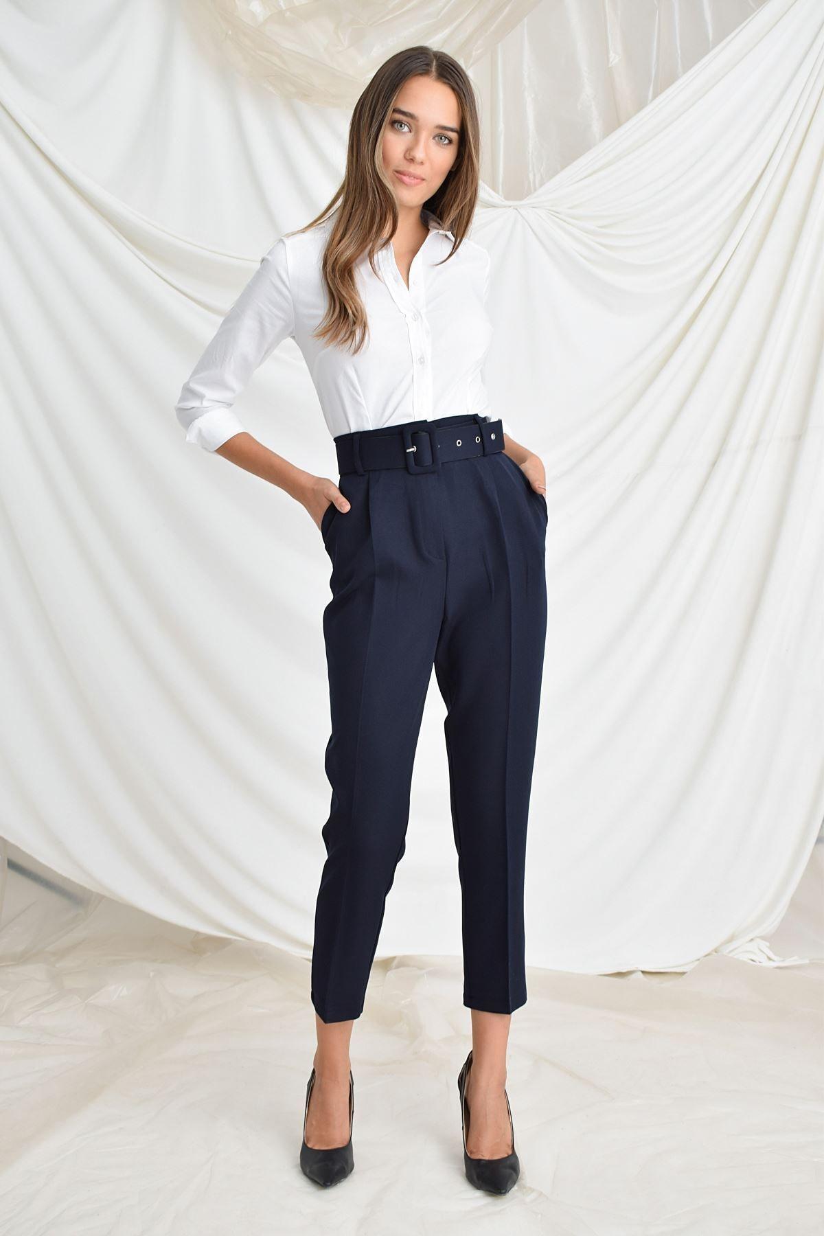 Zafoni Kadın Lacivert Beli Kemerli Havuç Pantolon 2