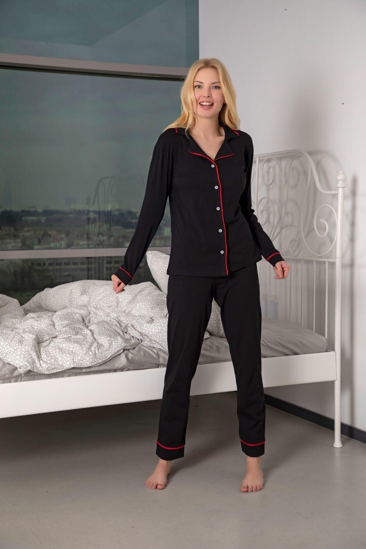 Huq Moda Kadın Siyah-kırmızı Pamuklu Likralı Biyeli Pijama Takımı 2