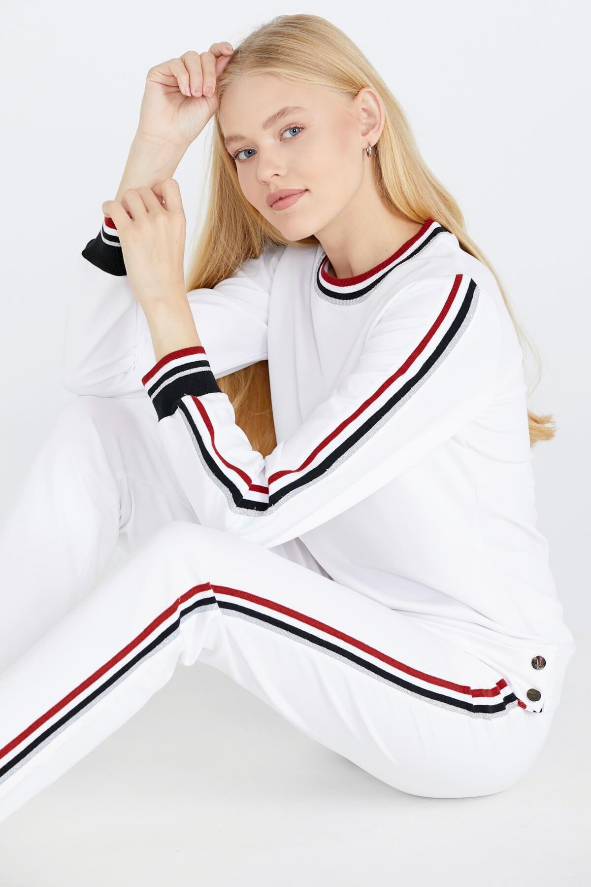 Sementa Şerit Çizgili Kadın Eşofman Takımı - Beyaz 1