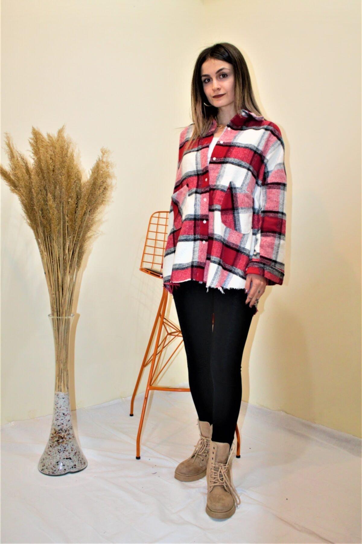 Beal&Feel Kadın Oversize Kırmızı Beyaz Oduncu Gömlek 1