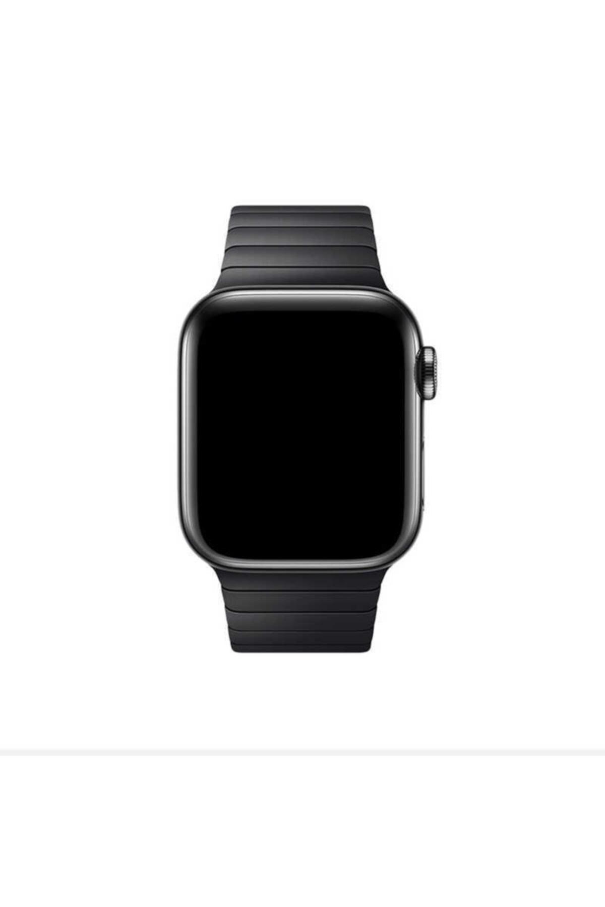 zore Apple Watch 44 Mm Kordon Çizgili Ayarlanabilir Otomatik Klipsli Metal Saat Kordun 1