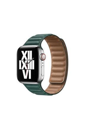 zore Apple Watch 6 Serisi 40 Mm Mıknatıslı Kordon Parçalı Çizgili Suya Dayanıklı Sağlam Suni Deri