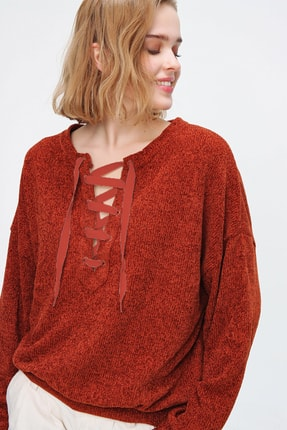Trend Alaçatı Stili Kadın Kiremit Önü Bağcıklı Oversıze Şönil Sweatshırt MDA-1087
