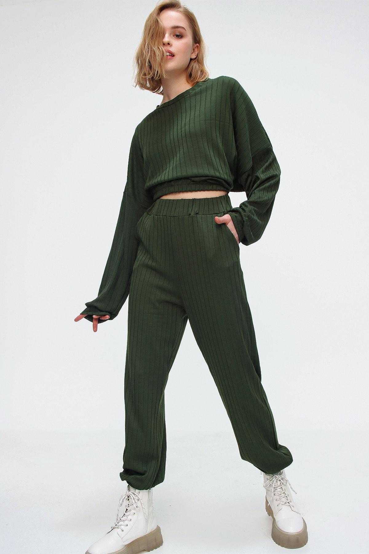 Trend Alaçatı Stili Kadın Yeşil Beli Lastikli Eşofman Takım ALC-507-509-FT 1