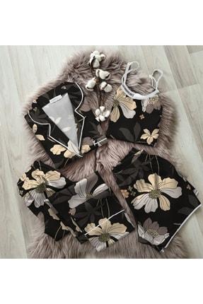 NO BRAND Siyah Kış Çiçekleri Desenli 4lü Saten Pijama Seti