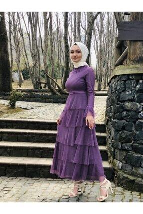 Loreen Kadın Mor Fırfırlı Elbise