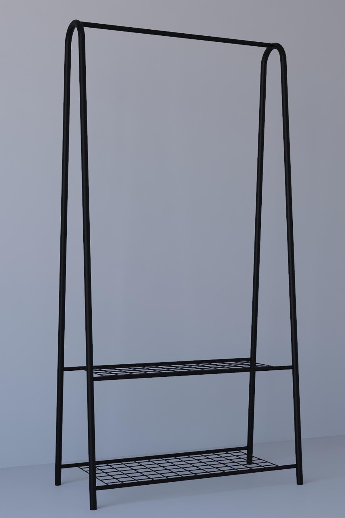 MONTANA 2 Raflı Metal Ayaklı Portmanto Askılık,konfeksiyon Elbise Askısı Siyah 1