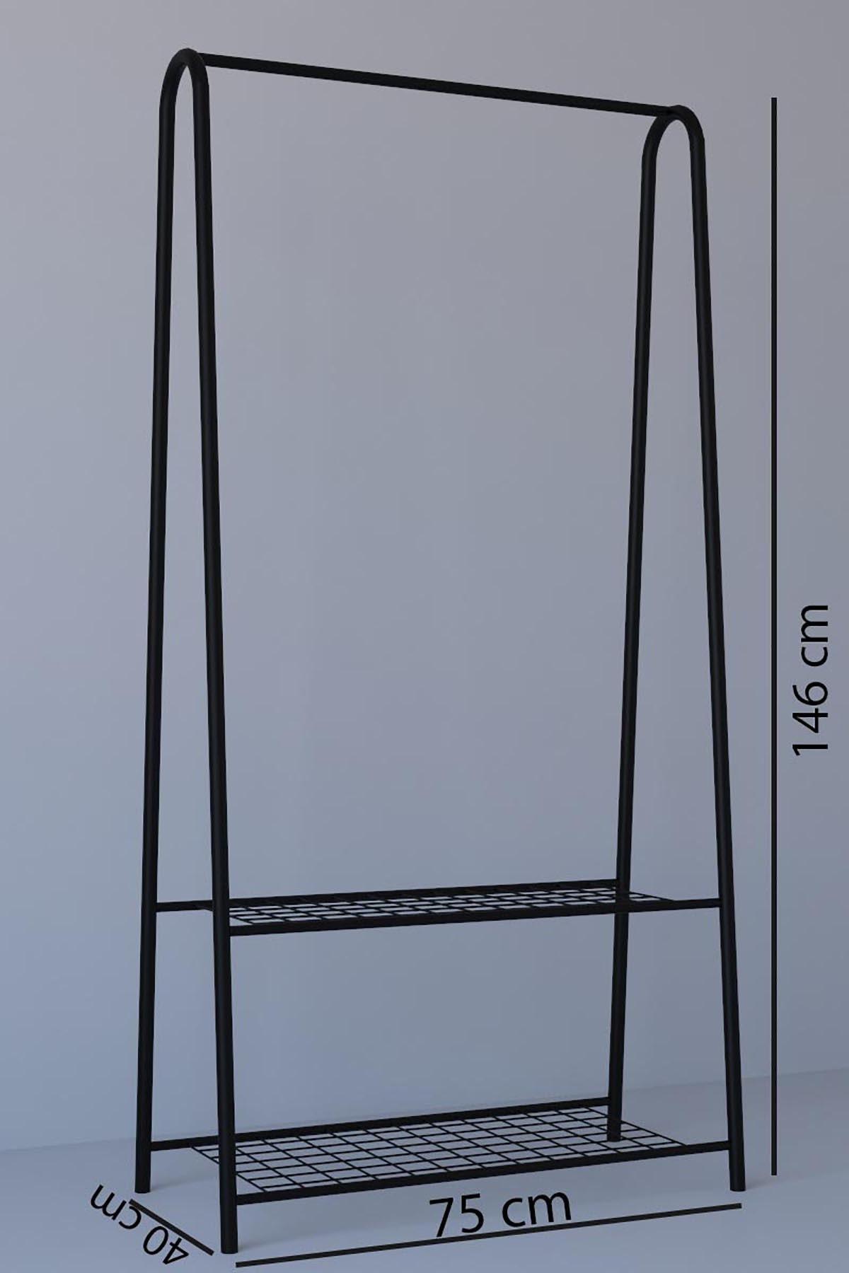 MONTANA 2 Raflı Metal Ayaklı Portmanto Askılık,konfeksiyon Elbise Askısı Siyah 2