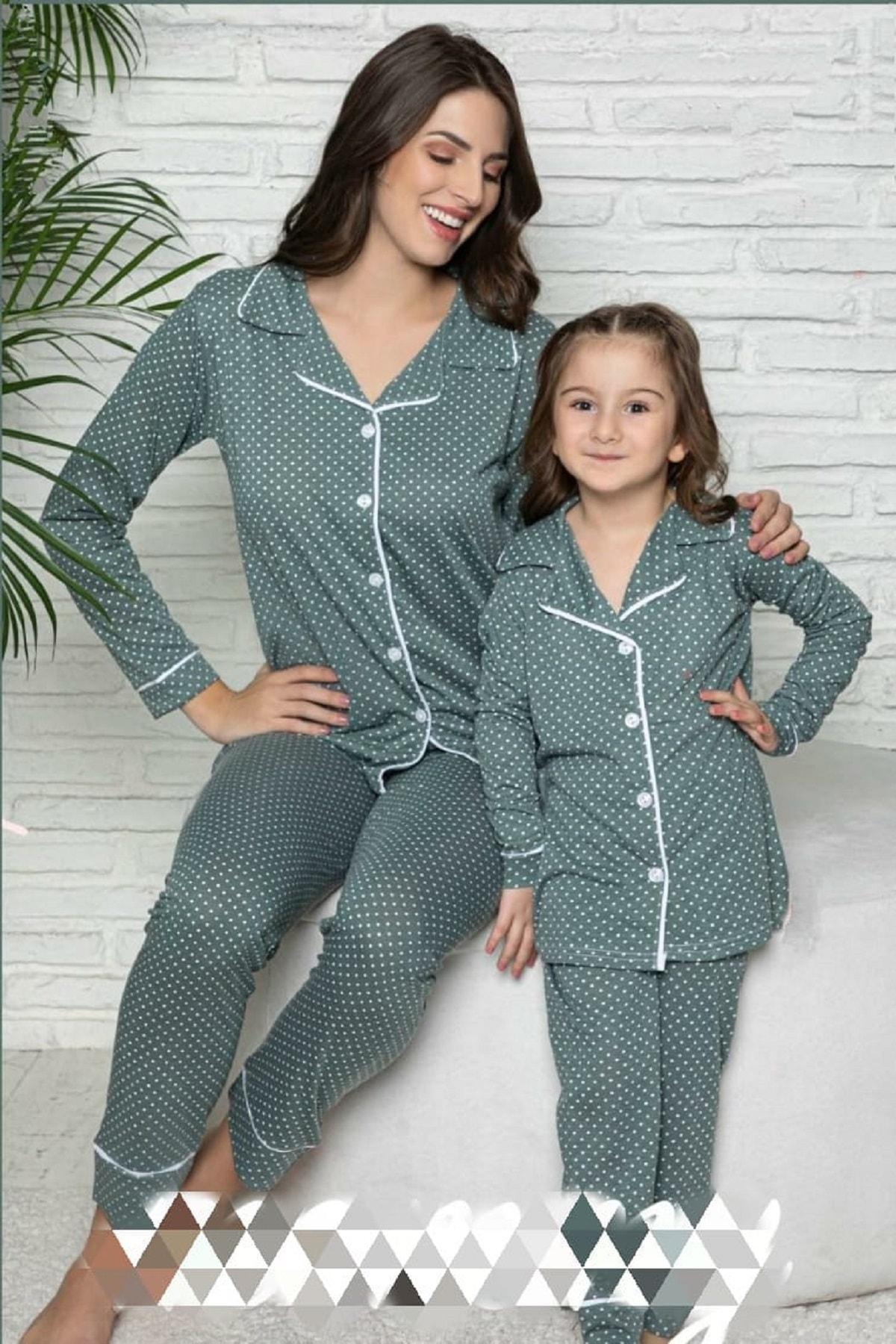 Kaktüs Moda Polat Yıldız Yeşil Anne Kız Pijama Takımı Kombini 20106 1