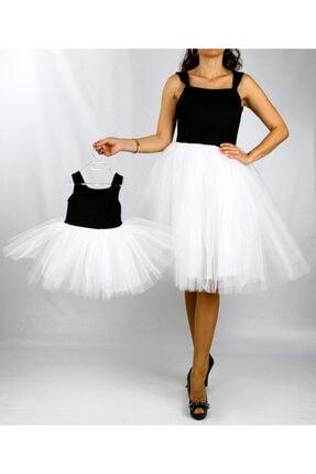 hotice tasarım Hotice Anne Kız Spor Abiye Parti Elbise Siyah Beyaz