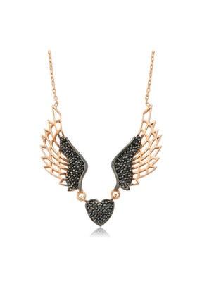 Gumush Gümüş Kanatlı Kalp Bayan Kolye