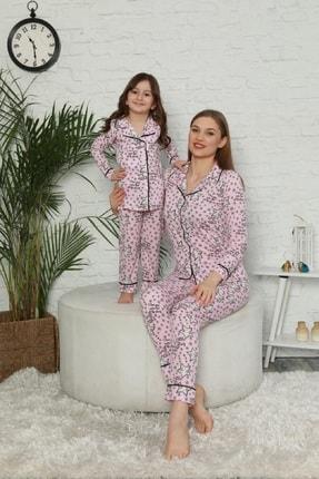 Kaktüs Moda Kadın Pembe Yıldız Desenli Anne Kız Kombin Pijama Takımı 20114