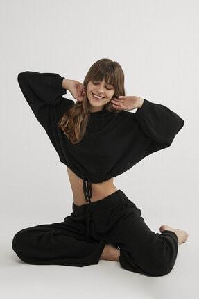 Penti Siyah Dark Kinitted Crop Sweatshirt