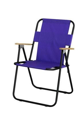 Byeren Ağaç Kollu Piknik Sandalyesi Mor
