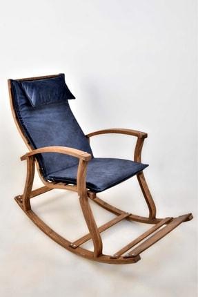 SARBUNU Ahşap Dinlenme Kitap Okuma Tv Koltuğu Sallanan Sandalye Lacivert Renk Minder