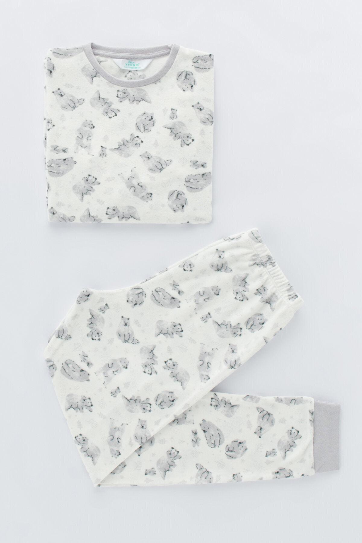 Penti Beyaz Erkek Çocuk Printed Bear Termal 2li Pijama Takımı 1