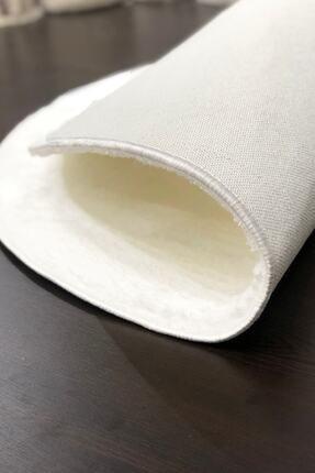 Sarar Yuvarlak Düz Renk Peluş Pofuduk Kaydırmaz Jel Taban Beyaz Renk Halı 100 X 100 Cm