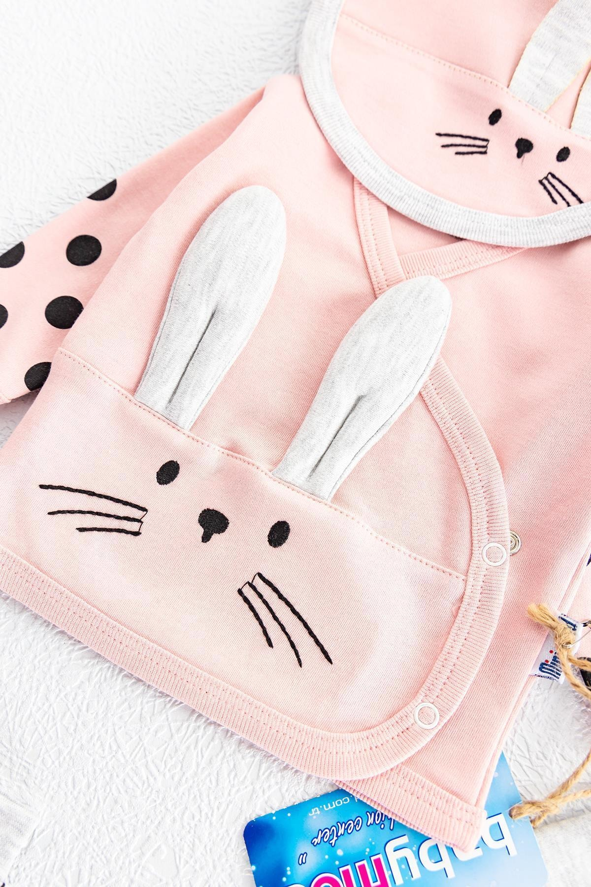 Babymod Tavşan Figürlü 5 Parça Kız Bebek Hastane Çıkışı Bebek Seti 2