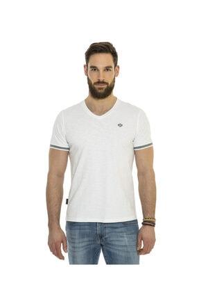 Camp David Erkek V Yaka Beyaz T-shirt