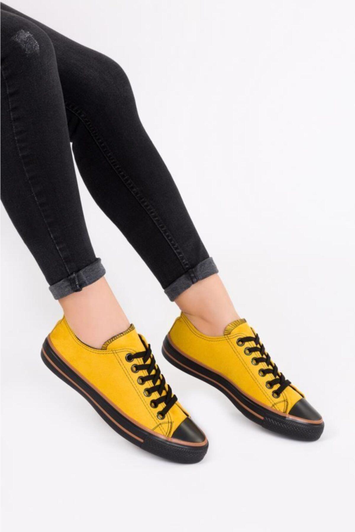 ESPARDİLE Kadın Sarı Lüks Süet Spor Ayakkabı 1