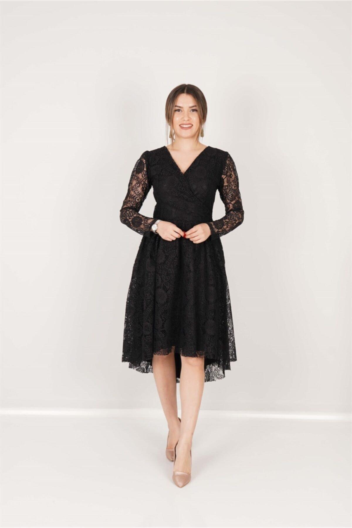 giyimmasalı Güpür Dantel Asimetrik Kesim Elbise - Siyah 2