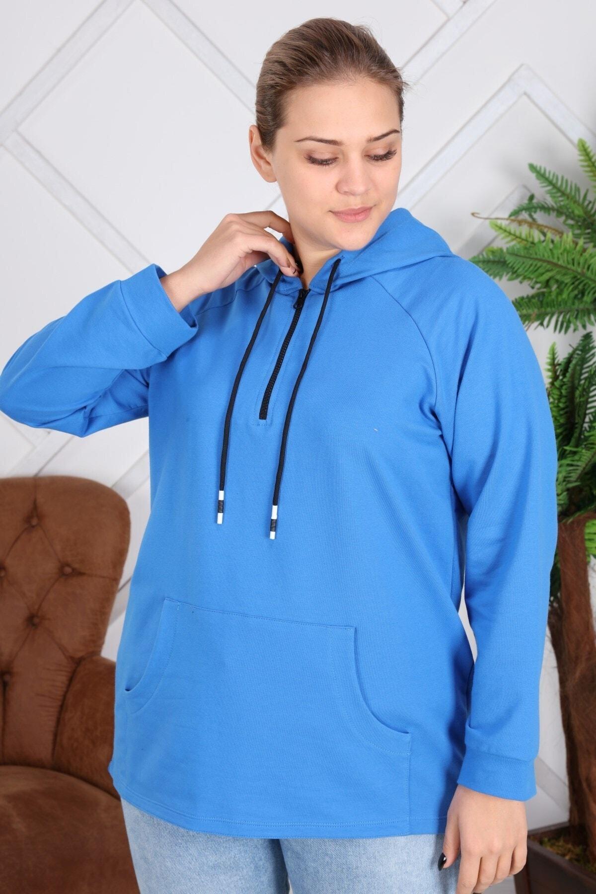 RMG Kapşonu Şerit Detaylı Fermuarlı Büyük Beden Mavi Sweatshirt 1