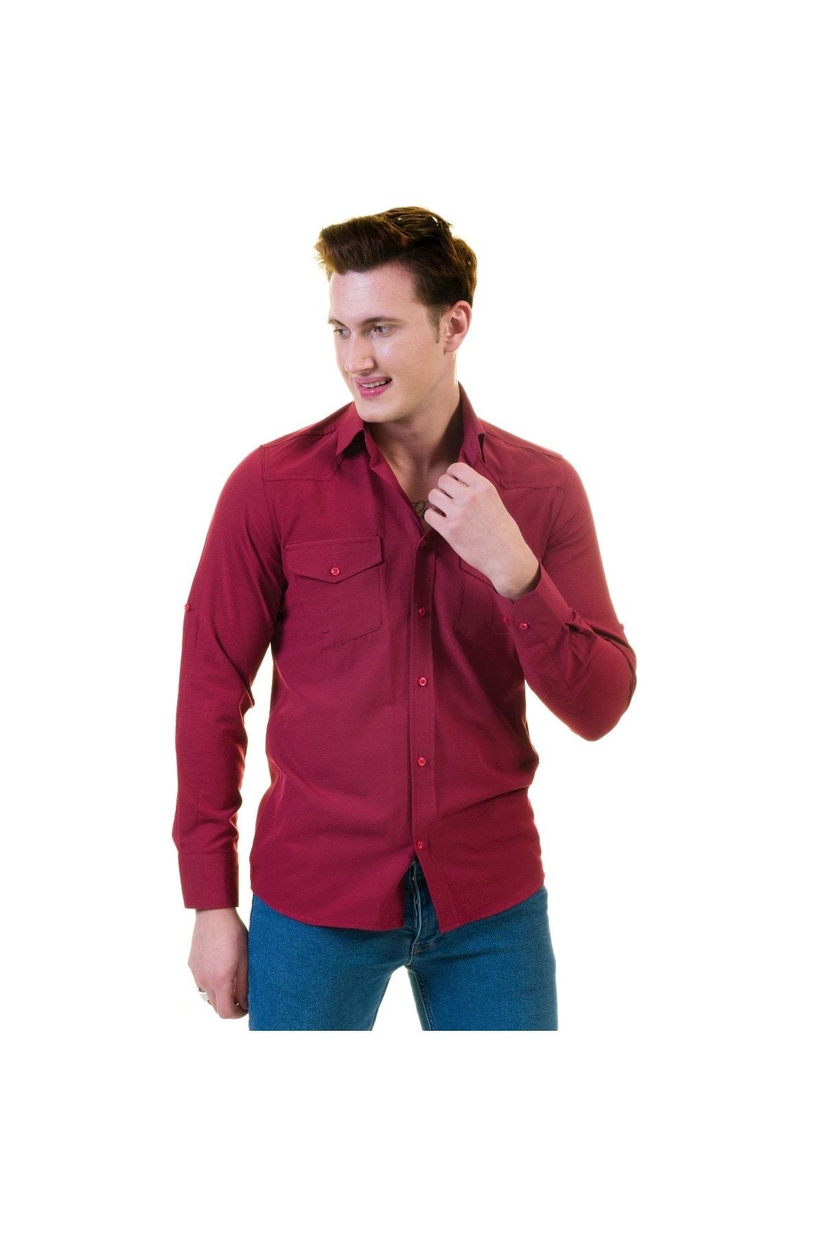 Exve Exclusive Vişne Çürüğü Özel Yıkamalı Cepli Western Gömlek 2