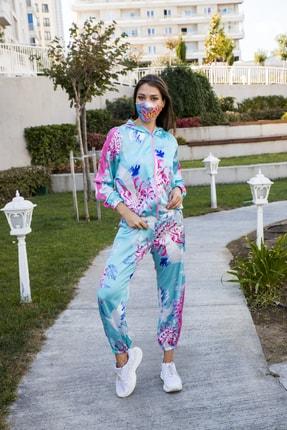 Maishha Teodara Kuş Baskılı Saten Fashion Eşofman Takımı