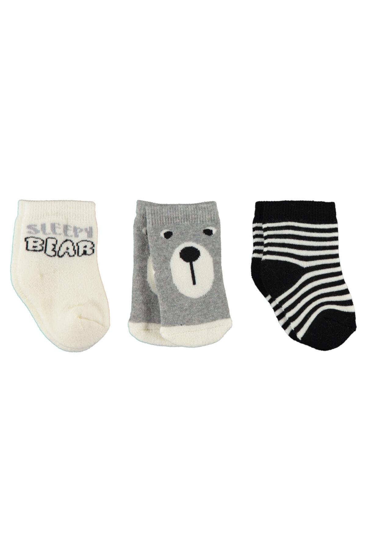 Civil Baby Erkek Bebek 3'lü Çorap 0-24 Ay Siyah-ekru 1