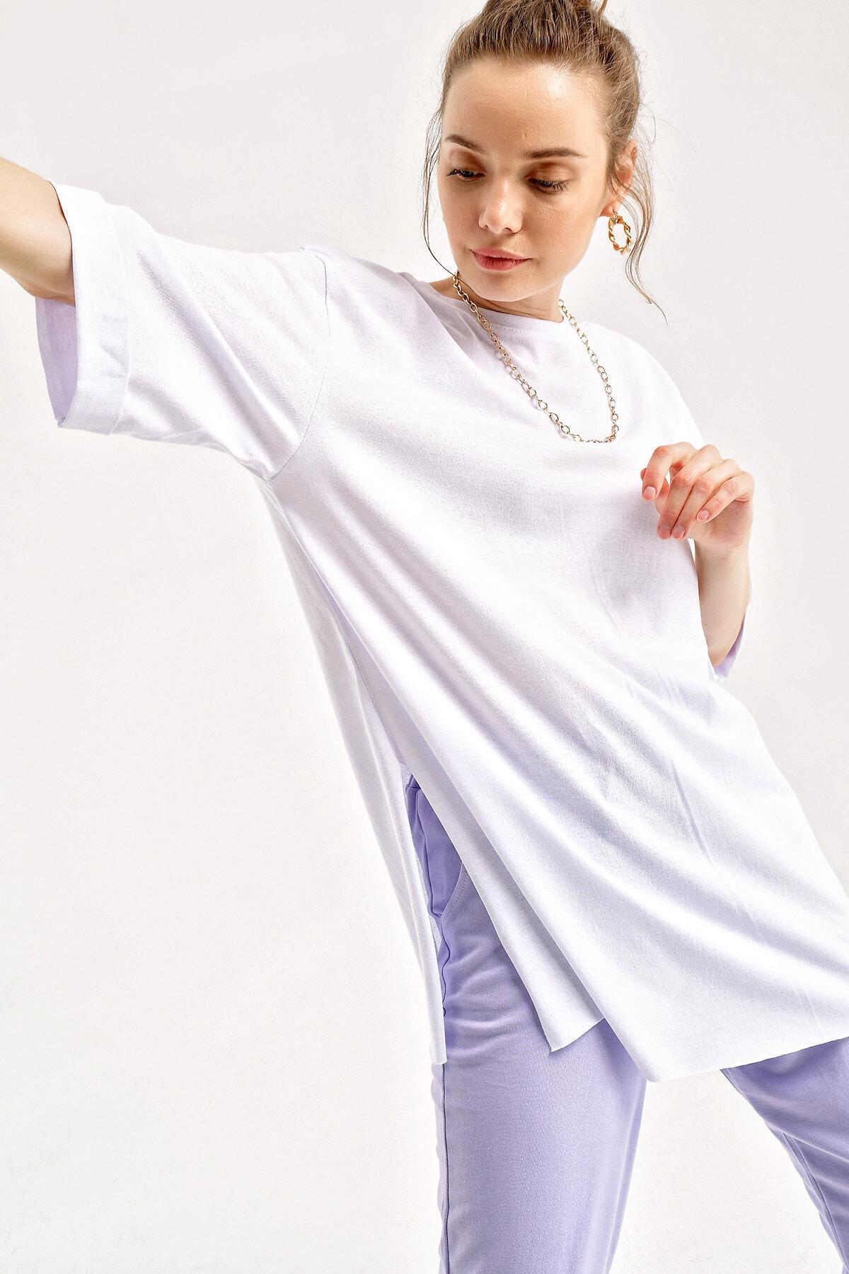 Bigdart 4123 Kol Katlı Yırtmaçlı Salaş T-shirt 1