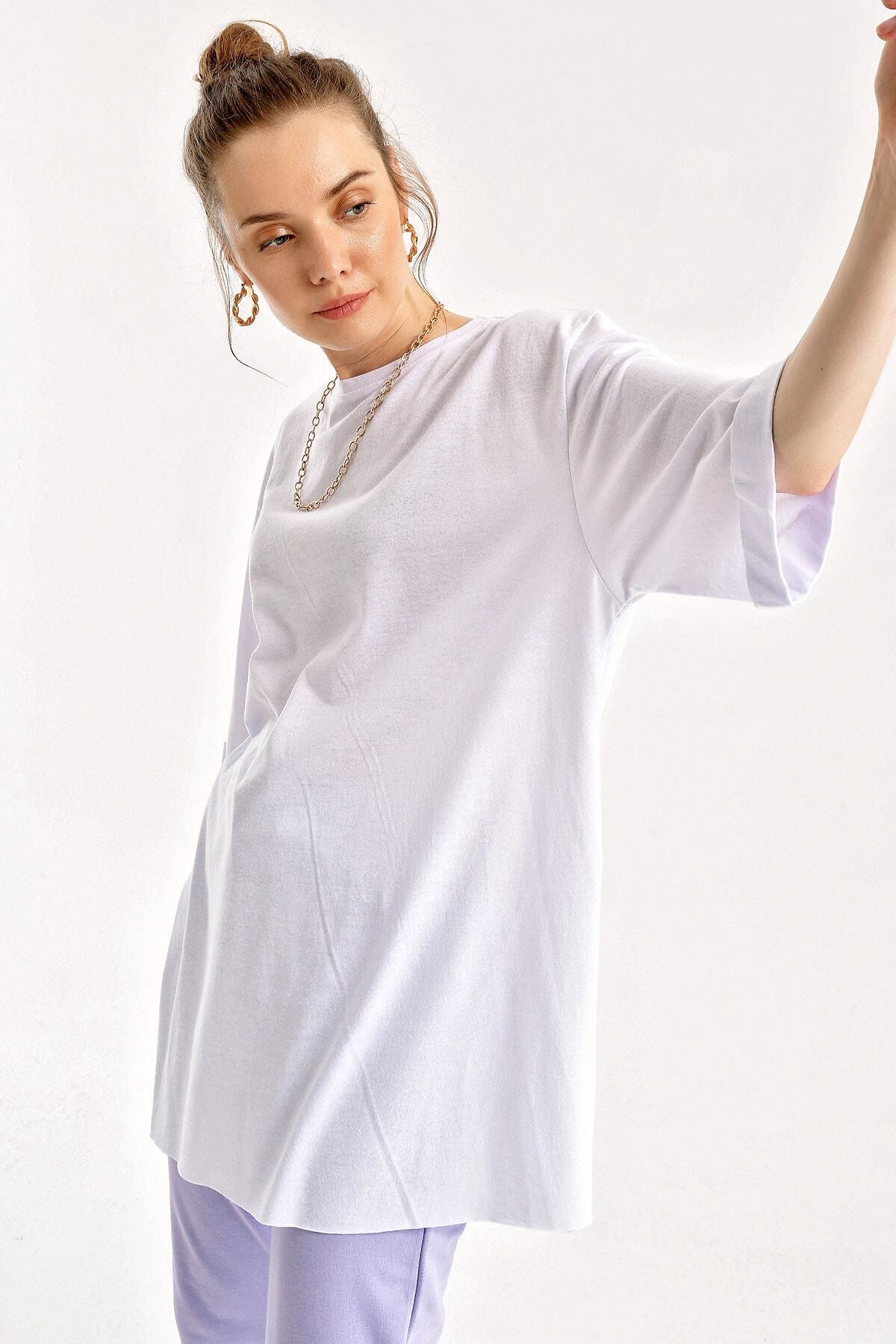 Bigdart 4123 Kol Katlı Yırtmaçlı Salaş T-shirt 2