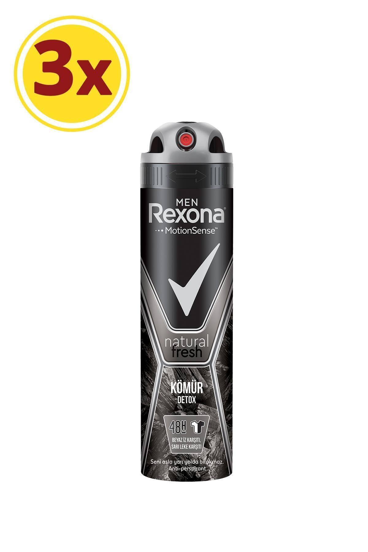 Rexona Men Natural Fresh Kömür Detox Erkek Sprey Deodorant 150 ml X 3 2