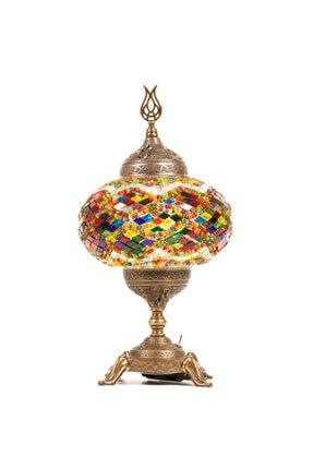 Demmex Pilli Mozaik Renkli Camlı Otantik Masaüstü Lamba Abajur Masa Gece Lambası