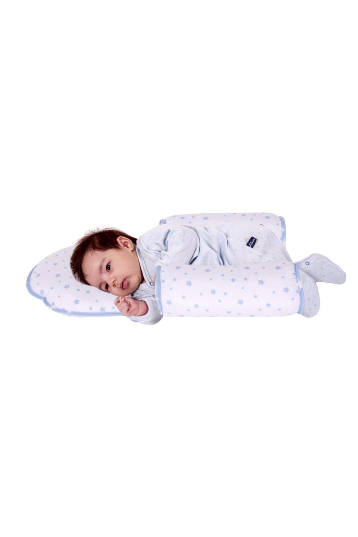 Sevi Bebe Kafa Şekillendirici Yastık Yan Yatış Yastığı Art-33 Mavi Yıldız 1