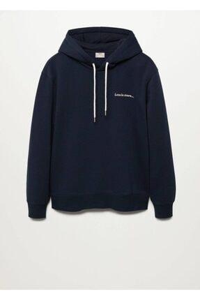 MANGO Man Erkek Lacivert Yazılı Penye Sweatshirt