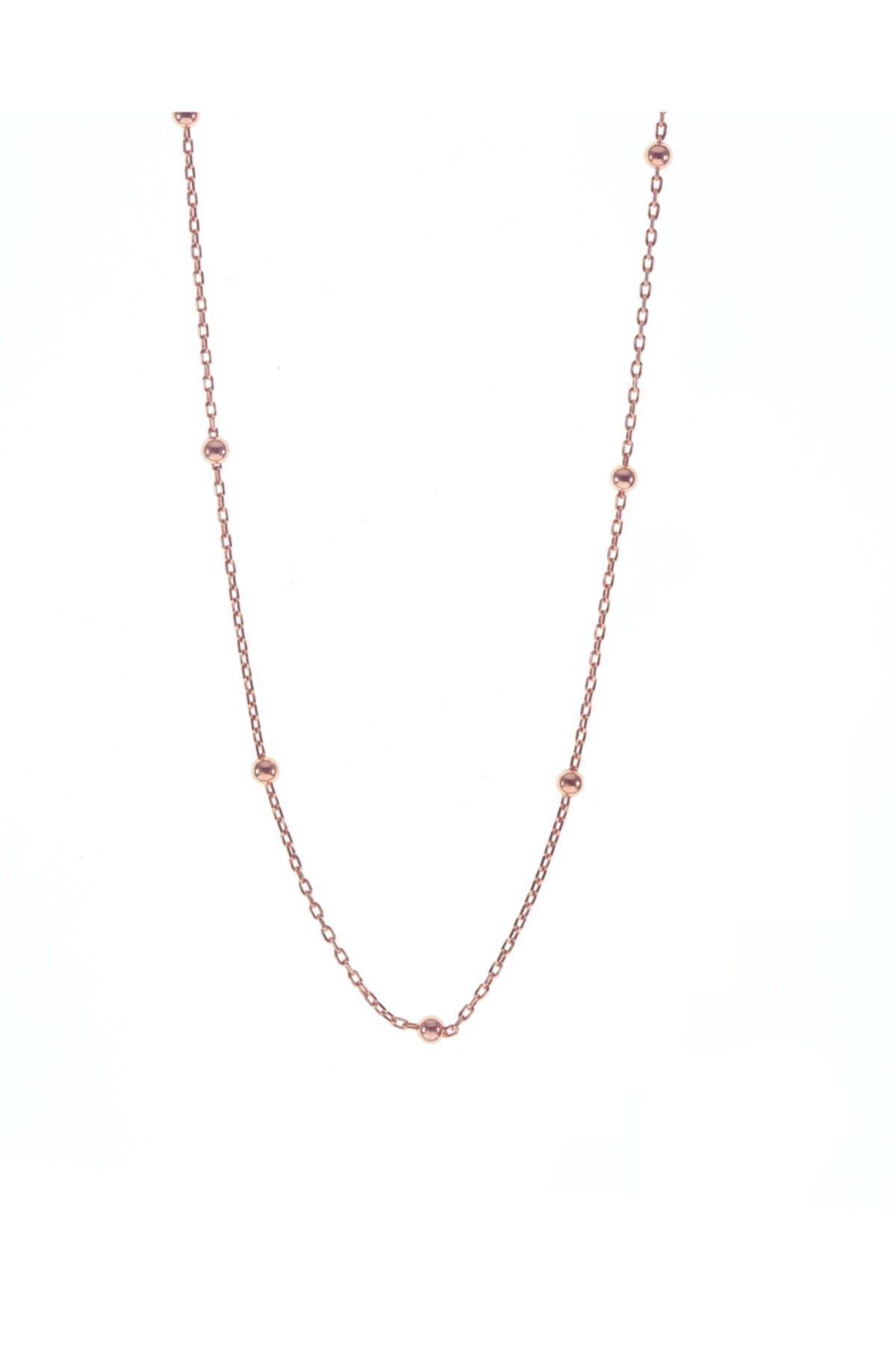 Söğütlü Silver Kadın Rose Gümüş Top Top Zincir 45 cm 1