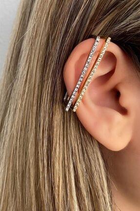 TAKIŞTIR Kadın Gümüş Ve Altın Renk Kombin Ear Cuff
