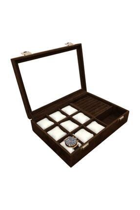kutuveaksesuar Saat Yüzük Koldüğmesi Ve Gözlük Çok Amaçlı Takı Kutusu Kahverengi