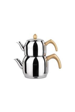 Hisar Bahama Çelik Çaydanlık Ve Demlik Takımı Gold - 40625