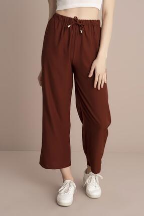 TENA MODA Kadın Kiremit Bel Lastikli Bol Paça Pantolon