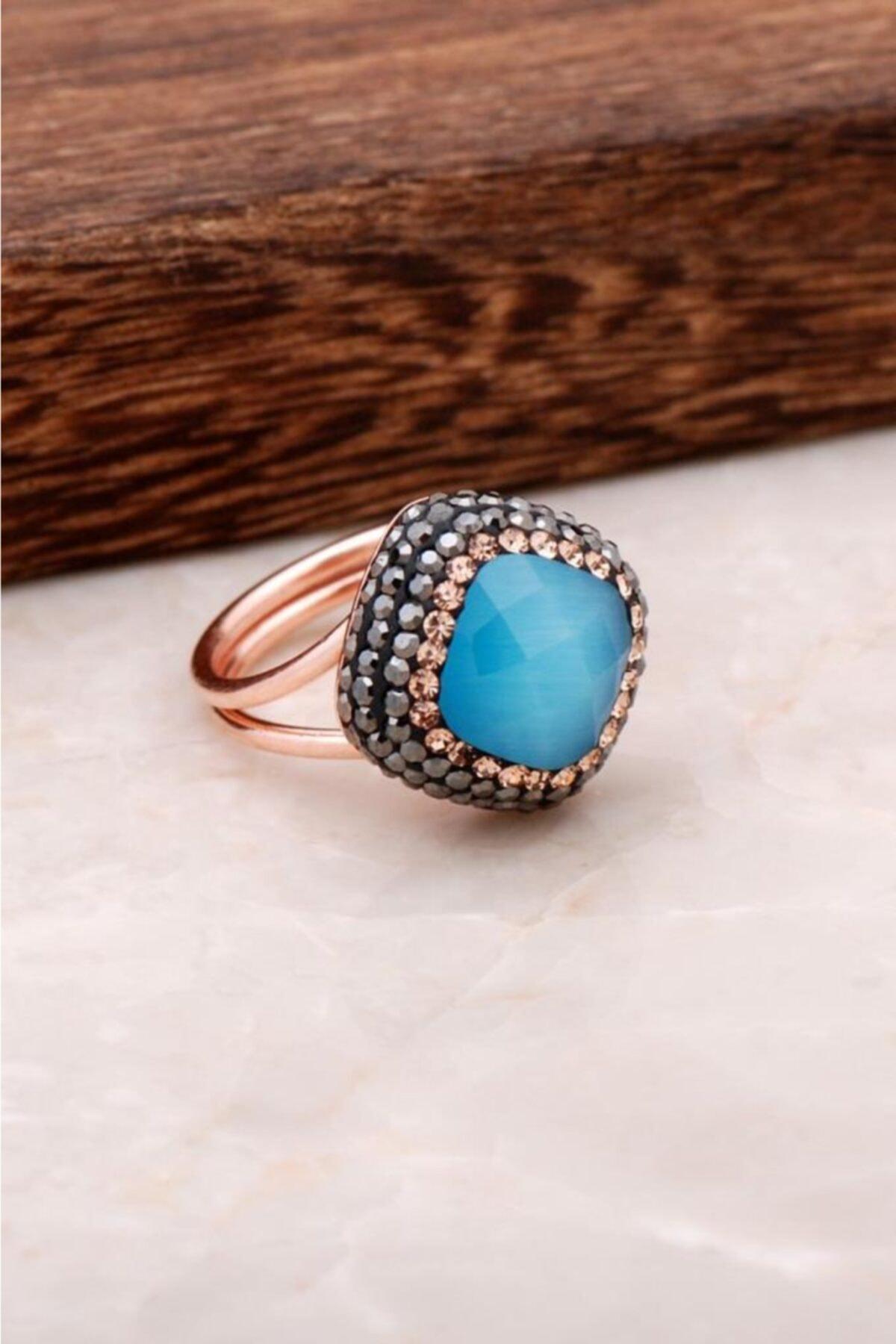 Sümer Telkari Mavi Opal Taşlı Rose Gümüş Tasarım Yüzük 2695 1