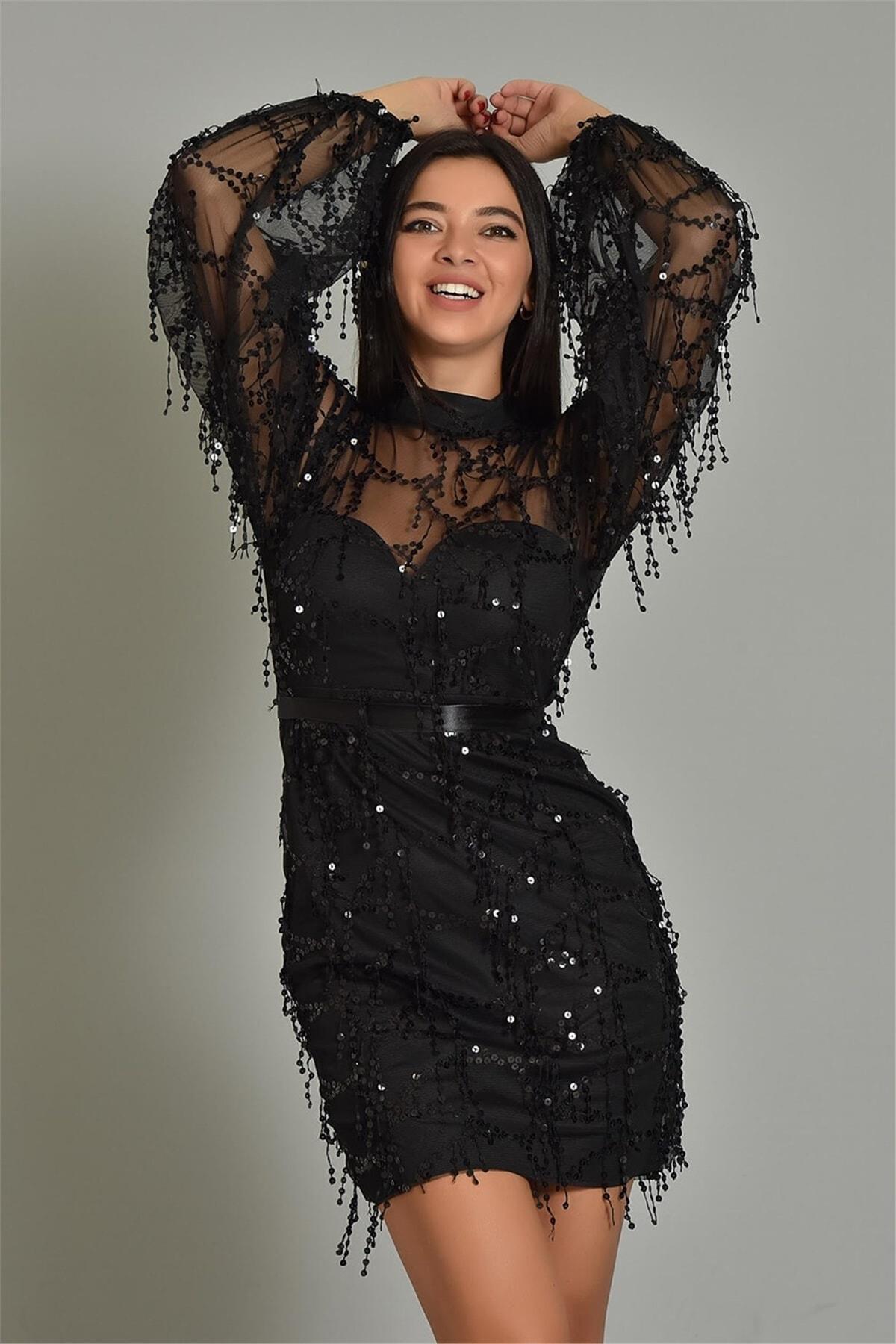 Modakapimda Fm Siyah Pul Payet Kısa Abiye Elbise Büyük Beden 1