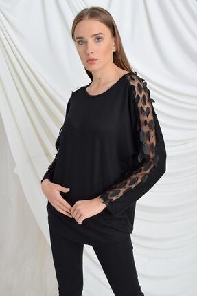 TENA MODA Kadın Siyah Kolu Yapraklı Çilek Bluz