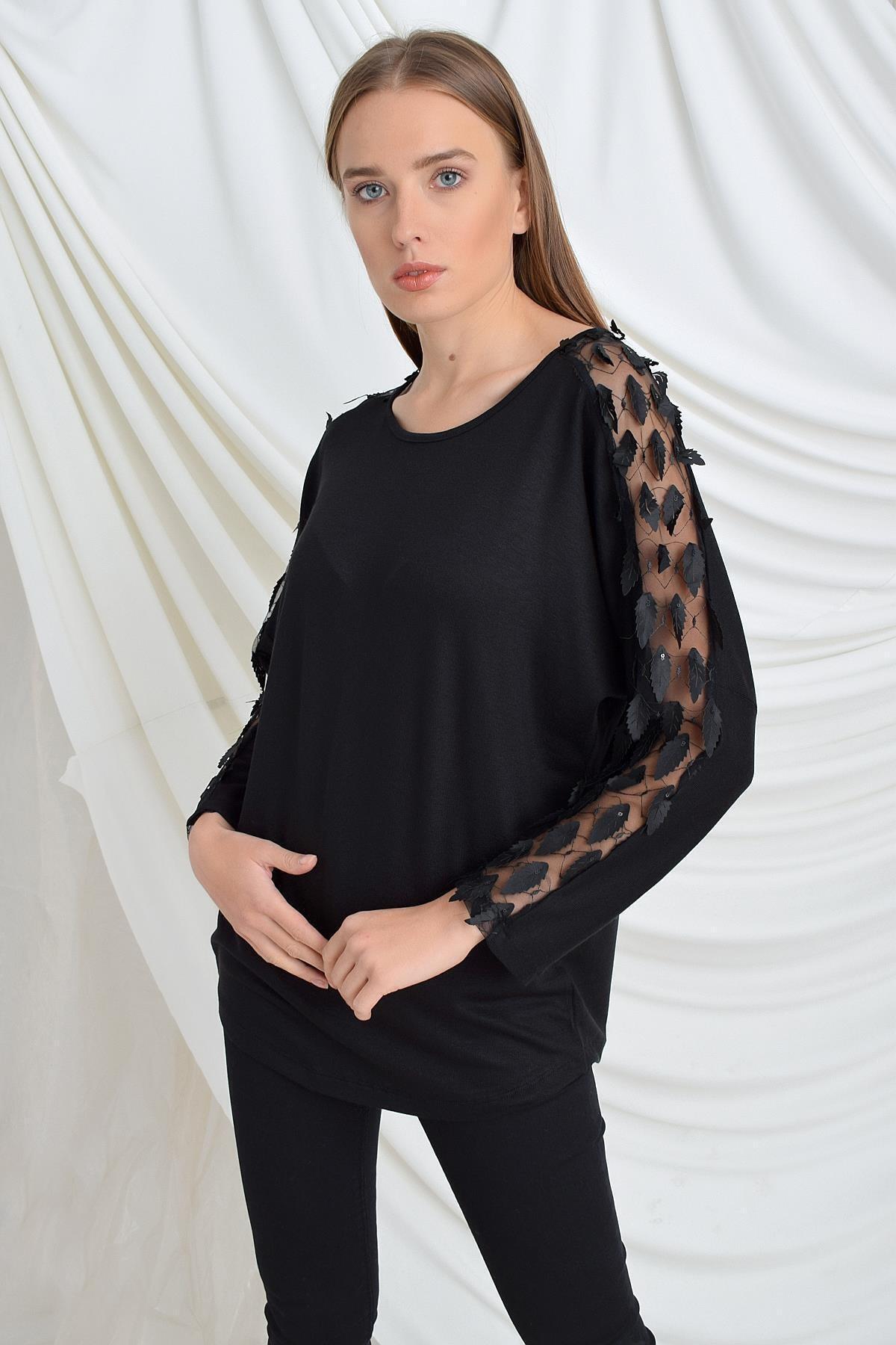 TENA MODA Kadın Siyah Kolu Yapraklı Çilek Bluz 1