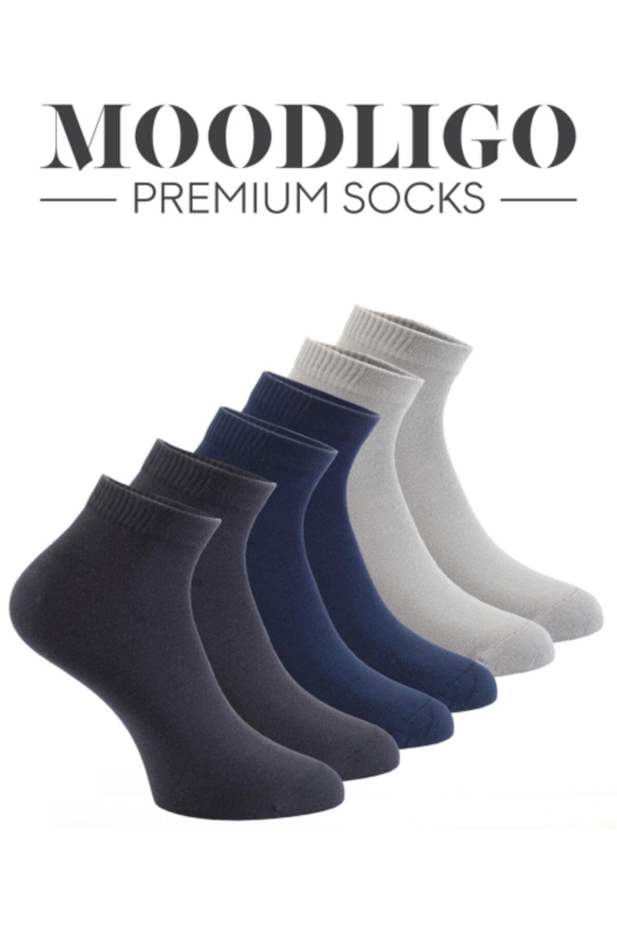 Moodligo Premium 6'lı Bambu Patik Erkek Çorap 2 Füme 2 Lacivert 2 Gri 2