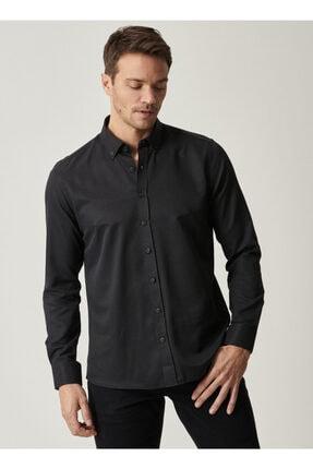 AC&Co / Altınyıldız Classics Erkek Siyah Tailored Slim Fit Dar Kesim Düğmeli Yaka Gabardin Gömlek