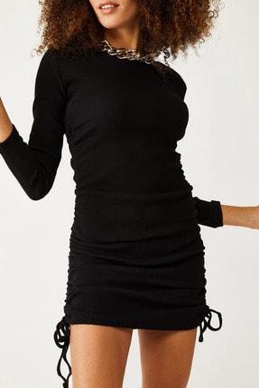 XHAN Siyah Yanları Büzgülü Kaşkorse Elbise 1kxk6-44523-02
