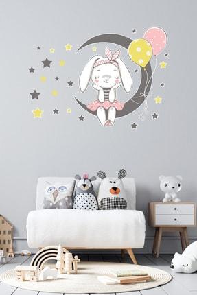 Tilki Dünyası Ay Üzerinde Oturan Sevimli Tavşan